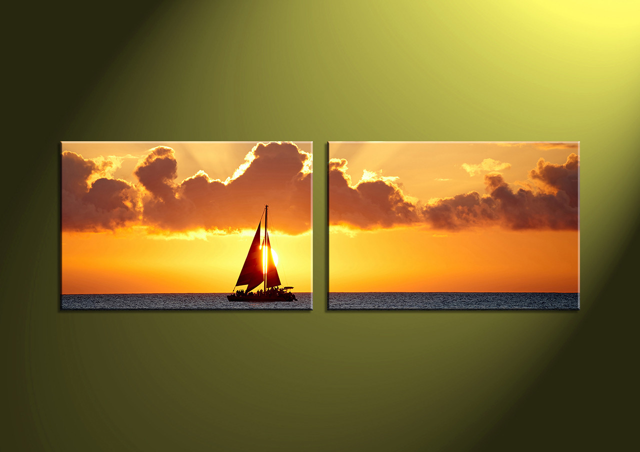 2 Piece Yellow Sunset Ocean Canvas Wall Art