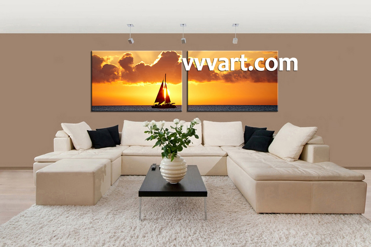 Living Room Canvas Art Part - 41: 2 Piece Canvas Wall Art, Living Room Canvas Art Prints, Scenery Artwork,  Scenery