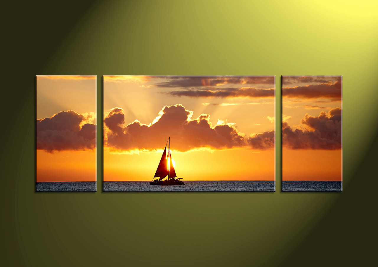 Triptych Yellow Ocean Sunset Huge Canvas Art