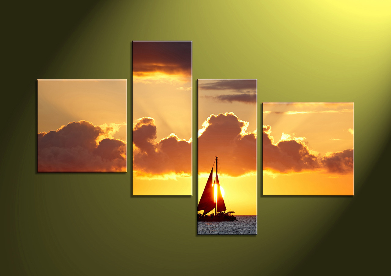 4 Piece Yellow Ocean Sunset Group Canvas