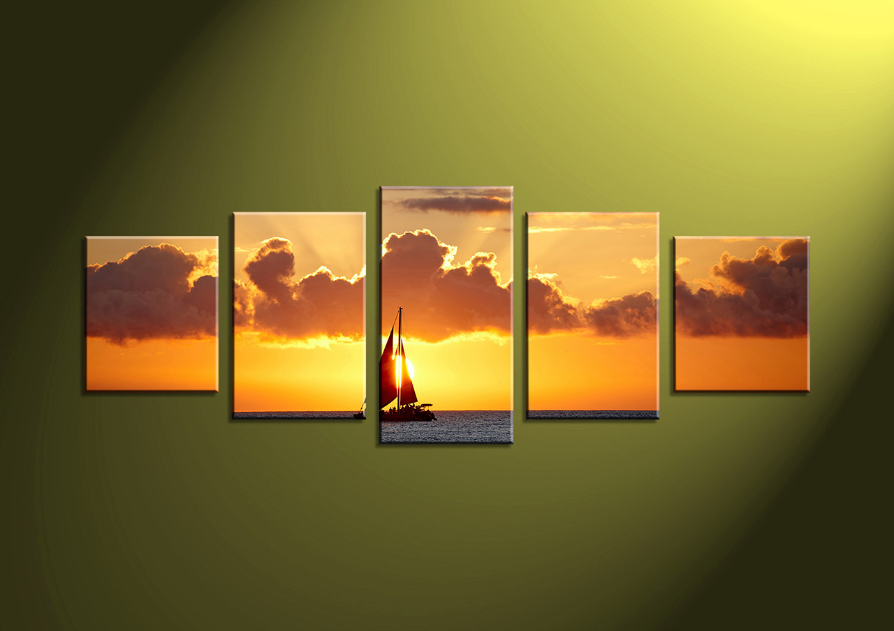 5 Piece Yellow Canvas Ocean Photo Canvas