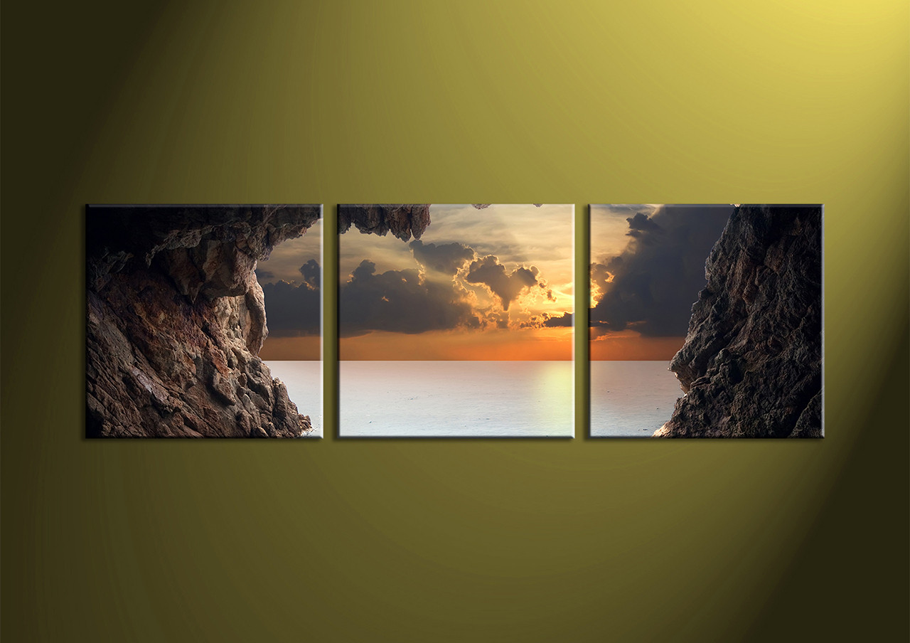 Home Decor 3 piece wall art ocean multi panel art scenery photo canvas & 3 Piece Brown Canvas Ocean Wall Art