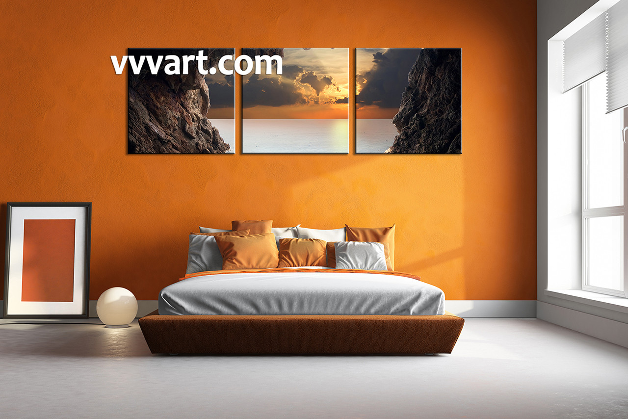 3 piece brown canvas ocean wall art for Large bedroom paintings
