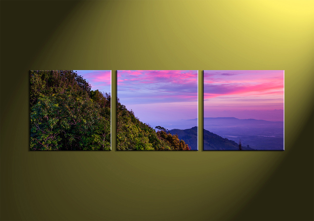 Purple Canvas Wall Art 3 piece green nature landscape purple canvas wall art
