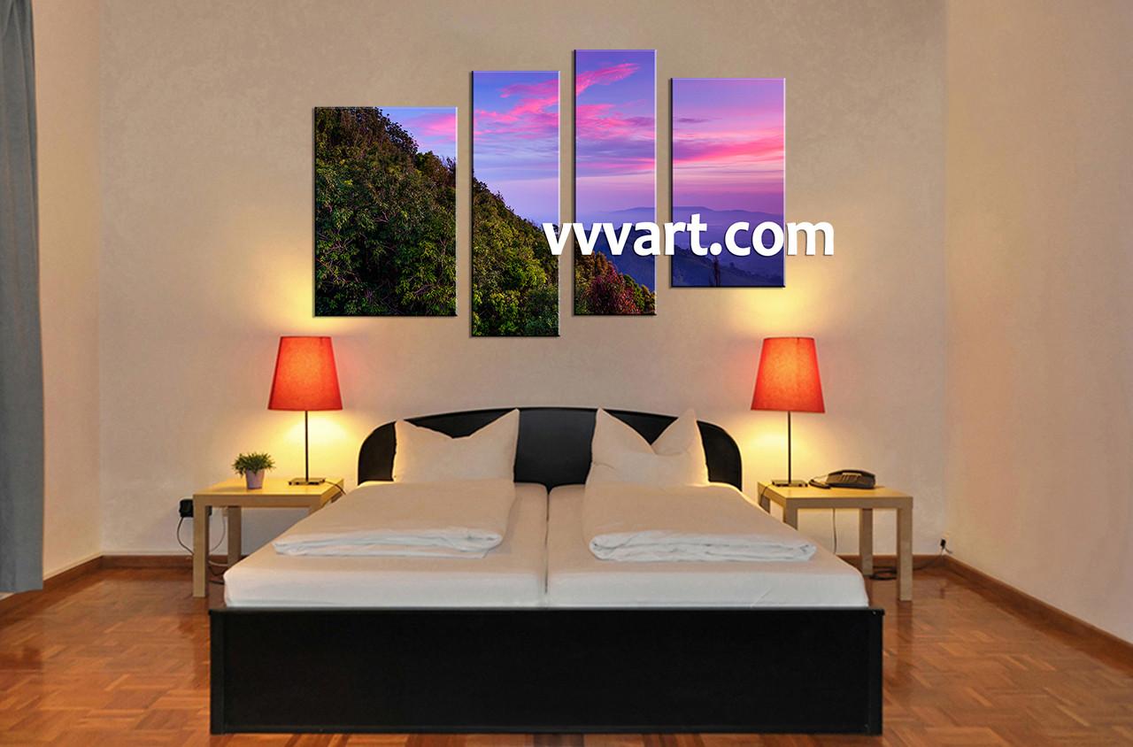 4 piece amazing canvas prints landscape purple multi panel art