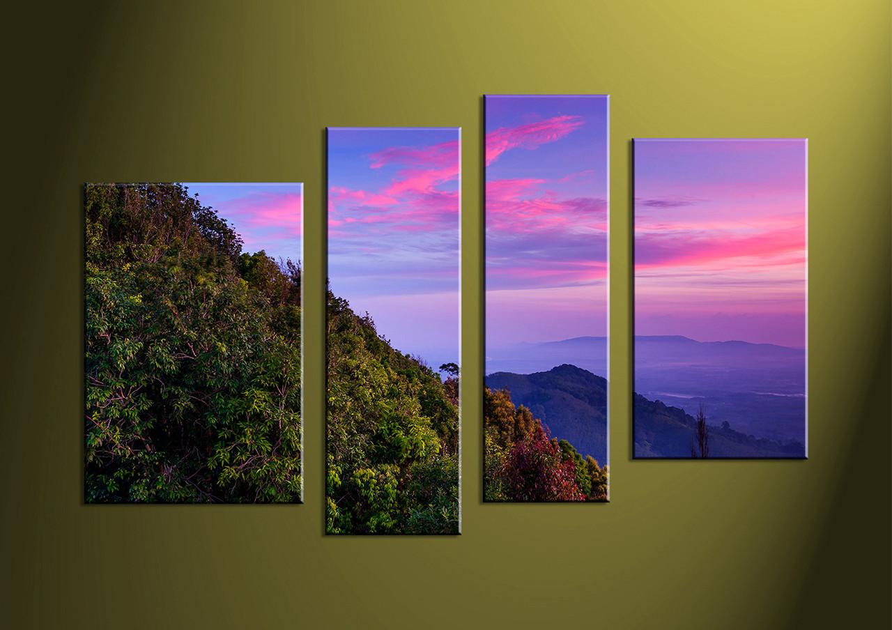 4 piece green landscape purple multi panel art. Black Bedroom Furniture Sets. Home Design Ideas