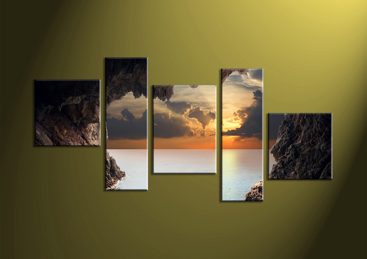 5 piece brown canvas sunset ocean large pictures for Home piece