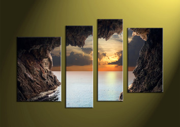 Home Decor,4 piece canvas wall art, ocean multi panel canvas, Scenery canvas prints, Sunset canvas photography