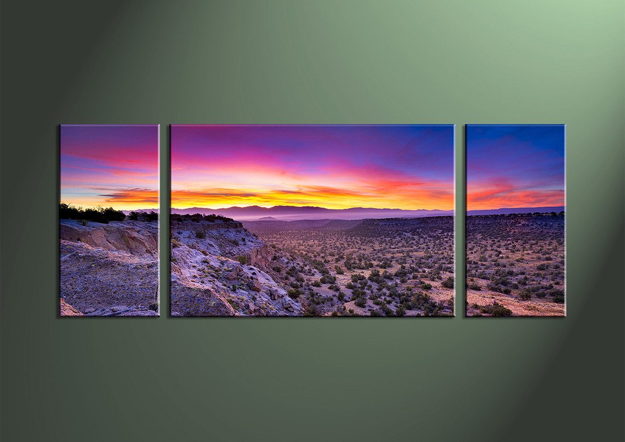 Purple Canvas Wall Art 3 piece purple landscape desert canvas art prints