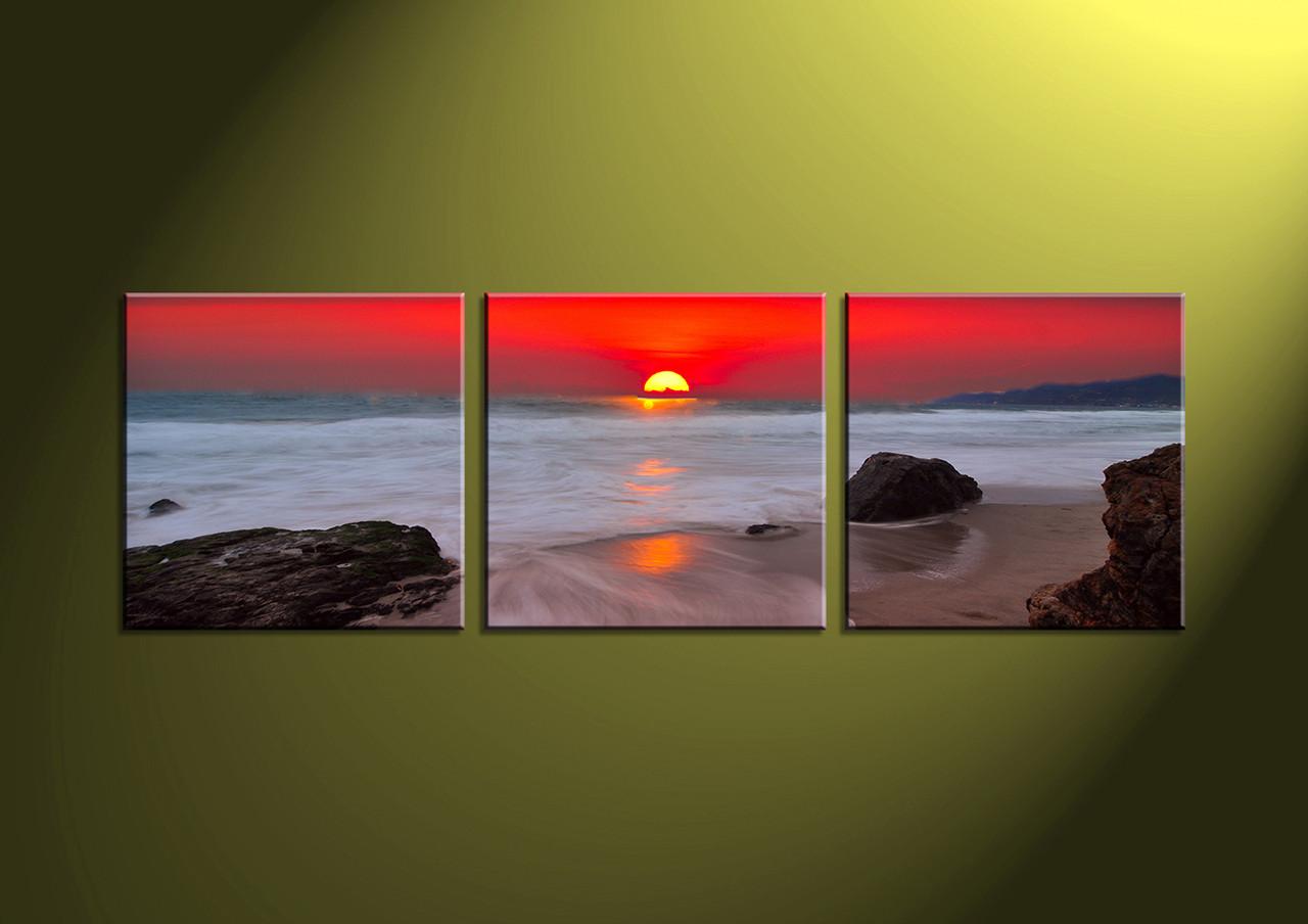 Home Decor Art 3 piece canvas art printsocean canvas print Scenery group & 3 Piece White Ocean Red Sunset Canvas Wall Art