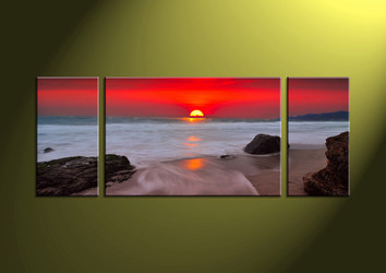 Home Decor,3 piece canvas wall art, ocean multi panel canvas, Scenery canvas prints, Sunset canvas photography