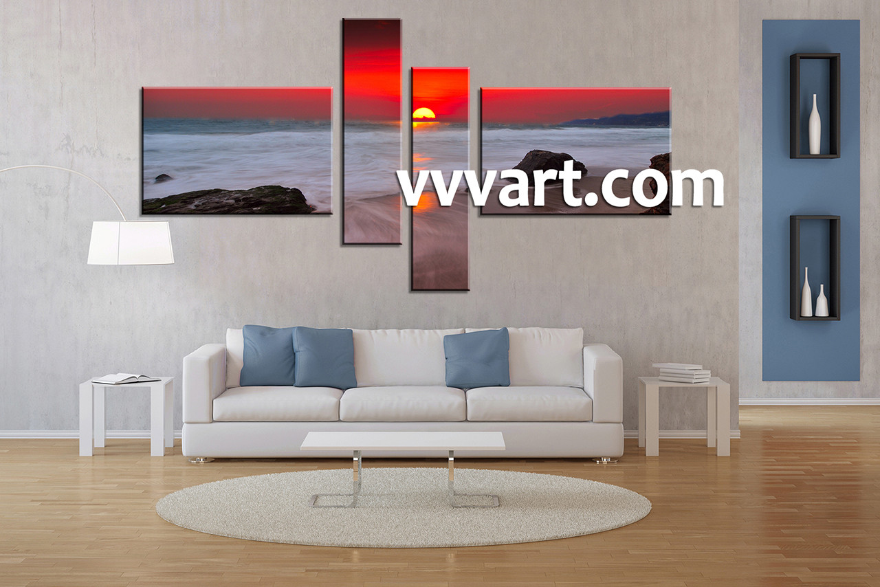 4 Piece Wall Art 4 piece red canvas white ocean multi panel art