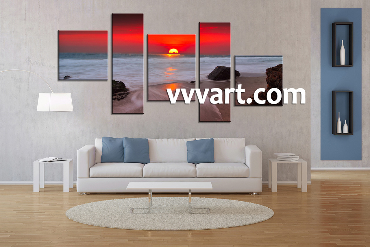 Canvas Art For Living Room Part - 46: Living Room Art, 5 Piece Canvas Art Prints,ocean Canvas Print, Scenery Group