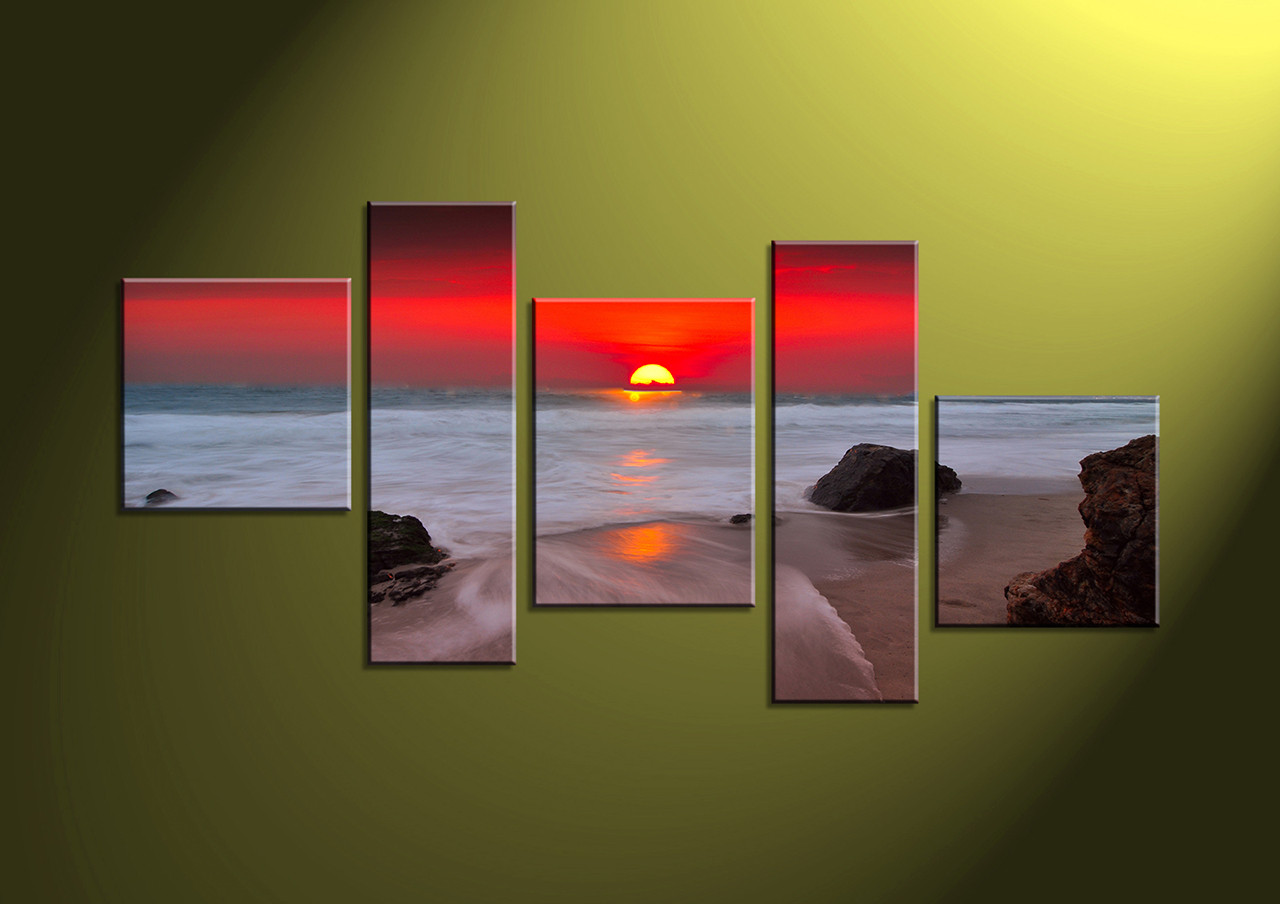 Perfect 5 Piece Red Sunset White Ocean Canvas Art VC69