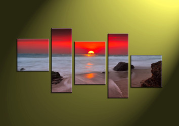 Home Decor Art, 5 piece canvas art prints,ocean canvas print, mountain group canvas, scenery pictures