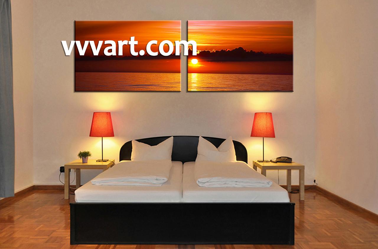 Bedroom Decor2 Piece Canvas Wall Art Ocean Multi Panel Mountain