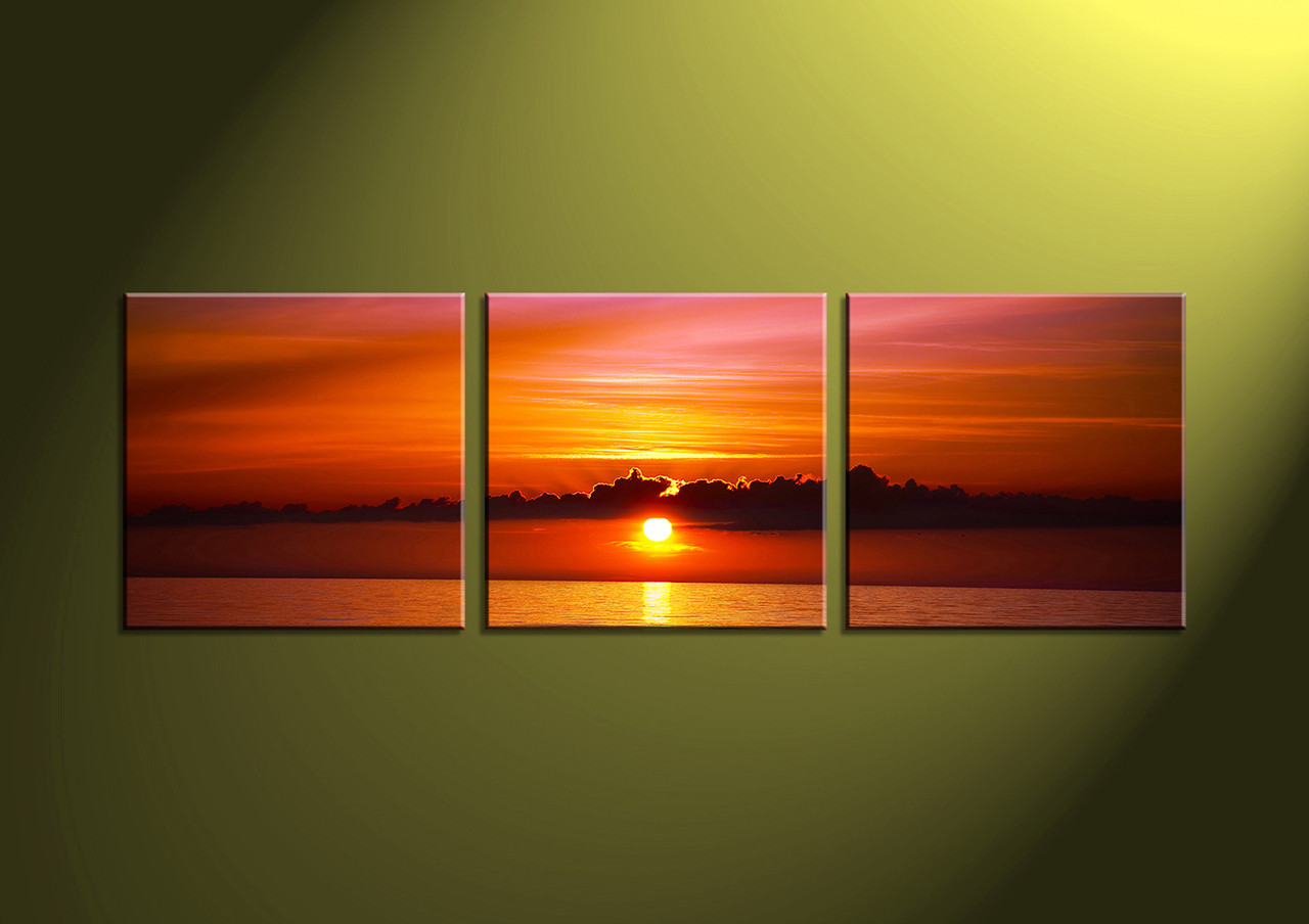3 piece red ocean canvas wall art. Black Bedroom Furniture Sets. Home Design Ideas