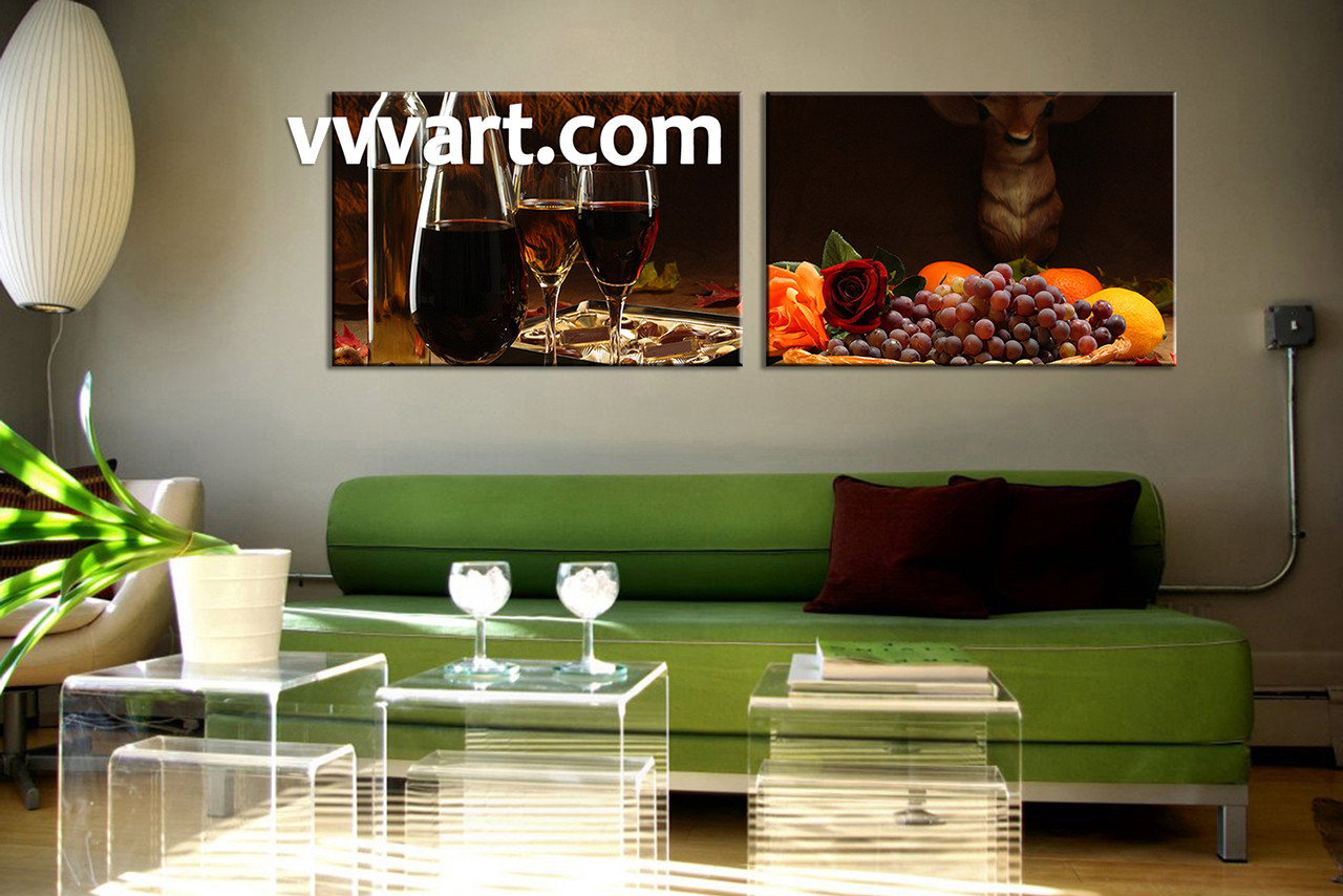 living room wall art,2 piece wall art, kitchen multi panel art, wine