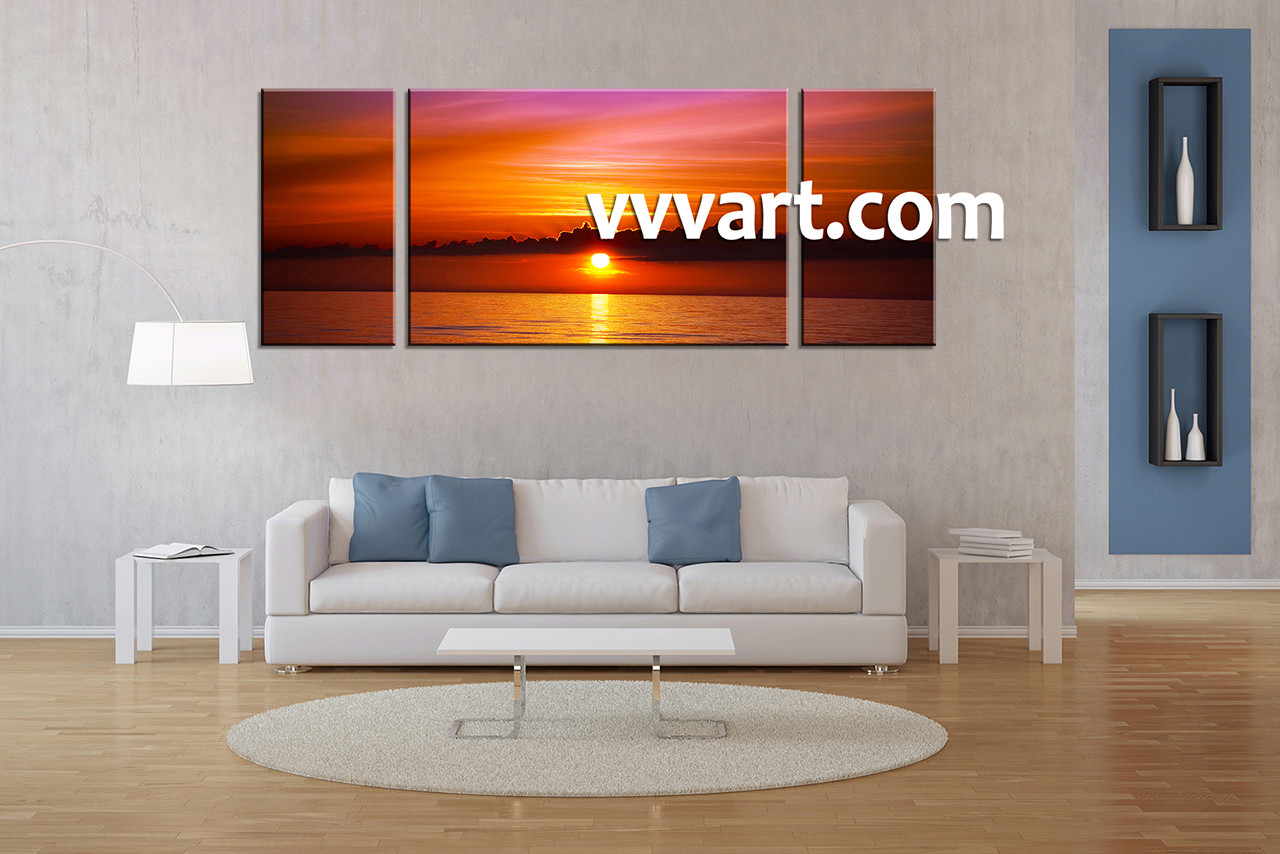 Living Room Wall Decor, 3 Piece Wall Art, Ocean Multi Panel Art, Scenery Part 78