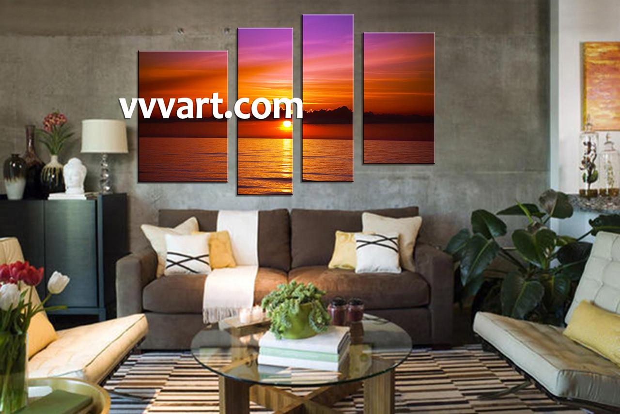 4 piece red ocean multi panel canvas. Black Bedroom Furniture Sets. Home Design Ideas