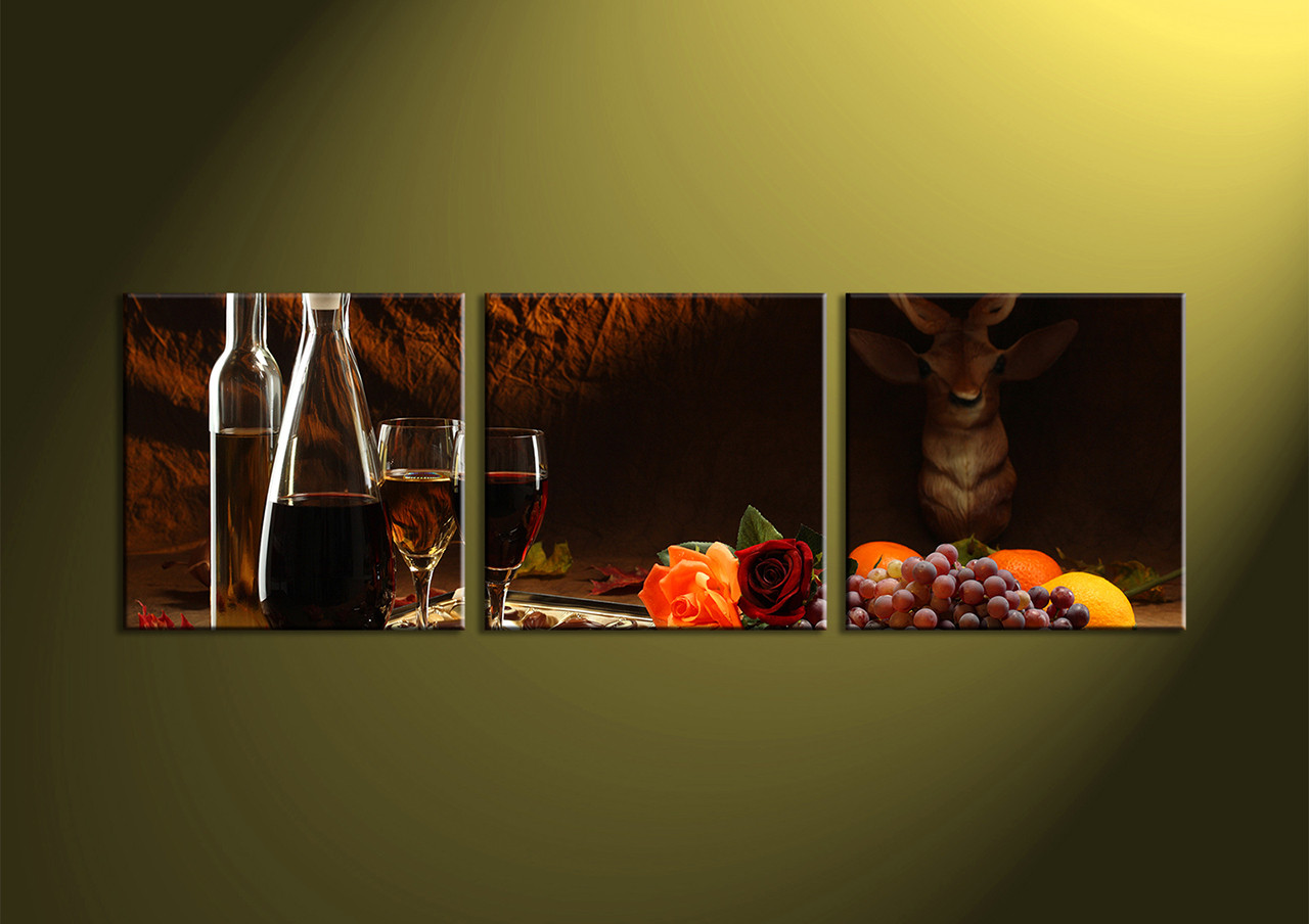 3 piece black canvas home decor wine large pictures for Decoration pieces for home