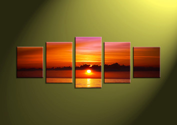 Home Decor,5 piece canvas wall art, Sunset multi panel canvas, mountain canvas prints, ocean canvas photography