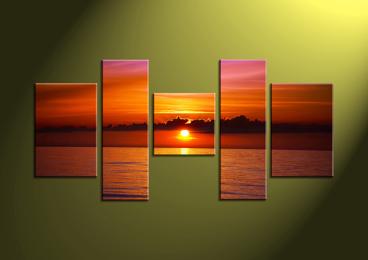 5 piece red sunset ocean canvas wall art. Black Bedroom Furniture Sets. Home Design Ideas