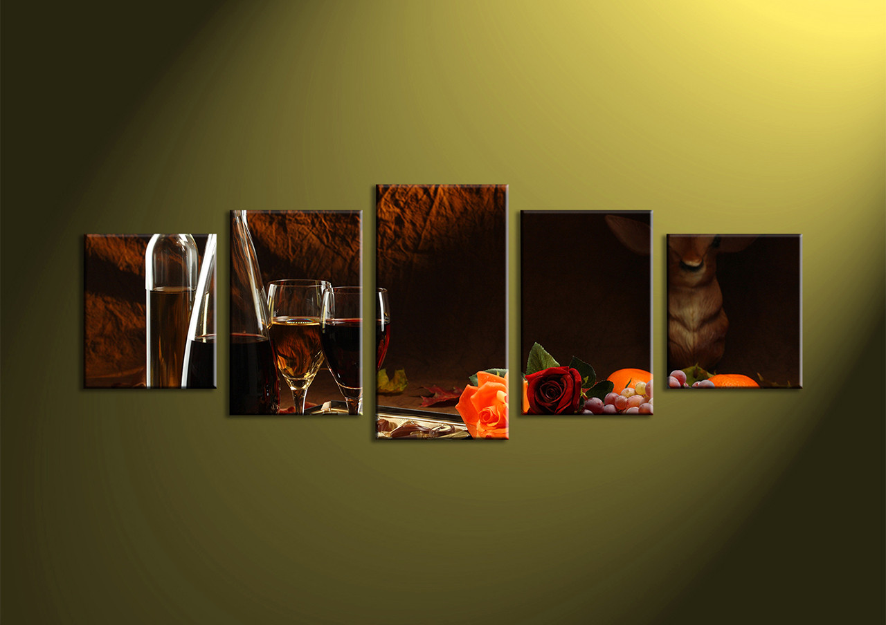 Wine Decor Wall Art 5 piece black canvas fruits wine wall art