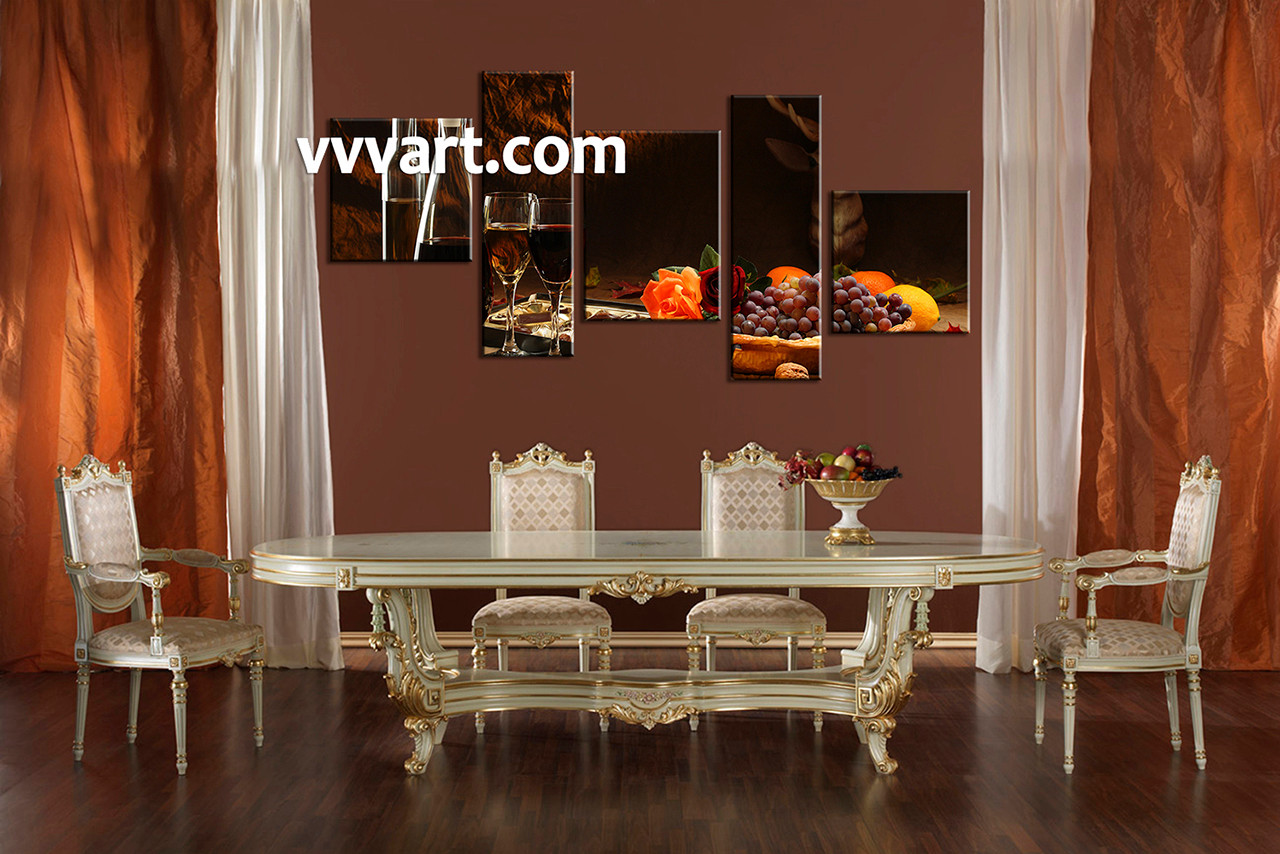 Kitchen Canvas Wall Art 5 piece black wine fruits home decor photo canvas
