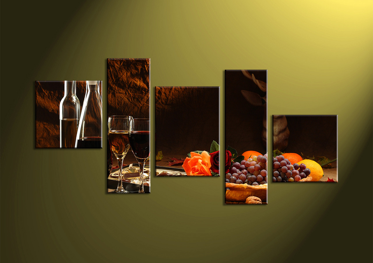 5 Piece Wall Art, Wine Fruits Multi Panel Art, Kitchen Canvas Print, Wall