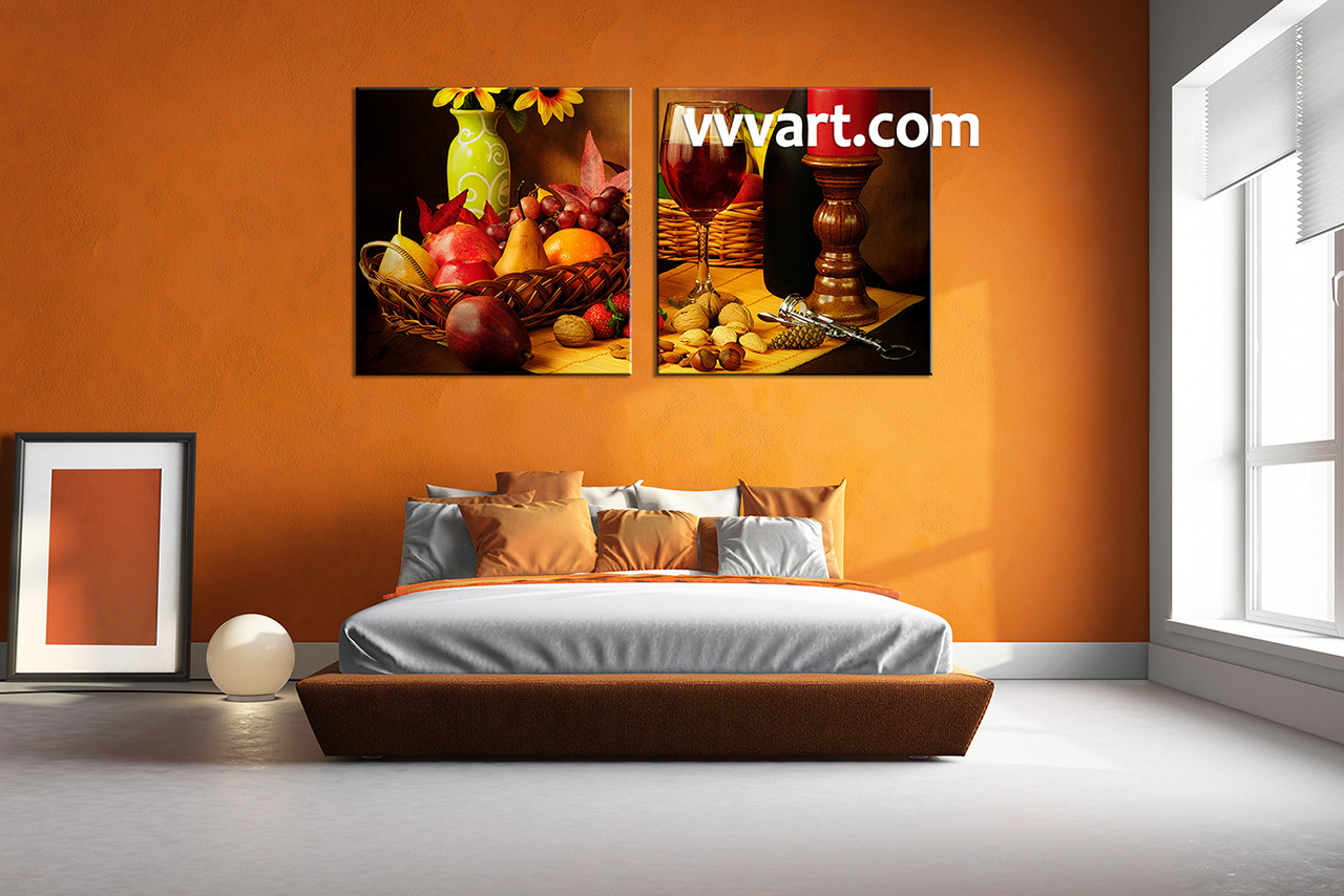 Bedroom Wall Decor 2 Piece Canvas Art Wine Multi Panel Kitchen