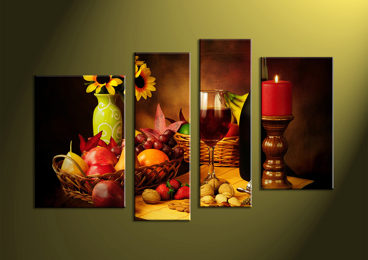 4 piece colorful wine fruits canvas photography for House decoration pieces