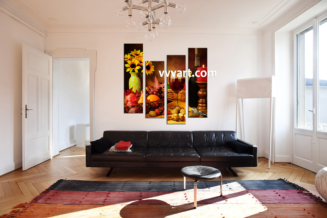 4 piece colorful canvas wine home decor wall art for 4 home decor