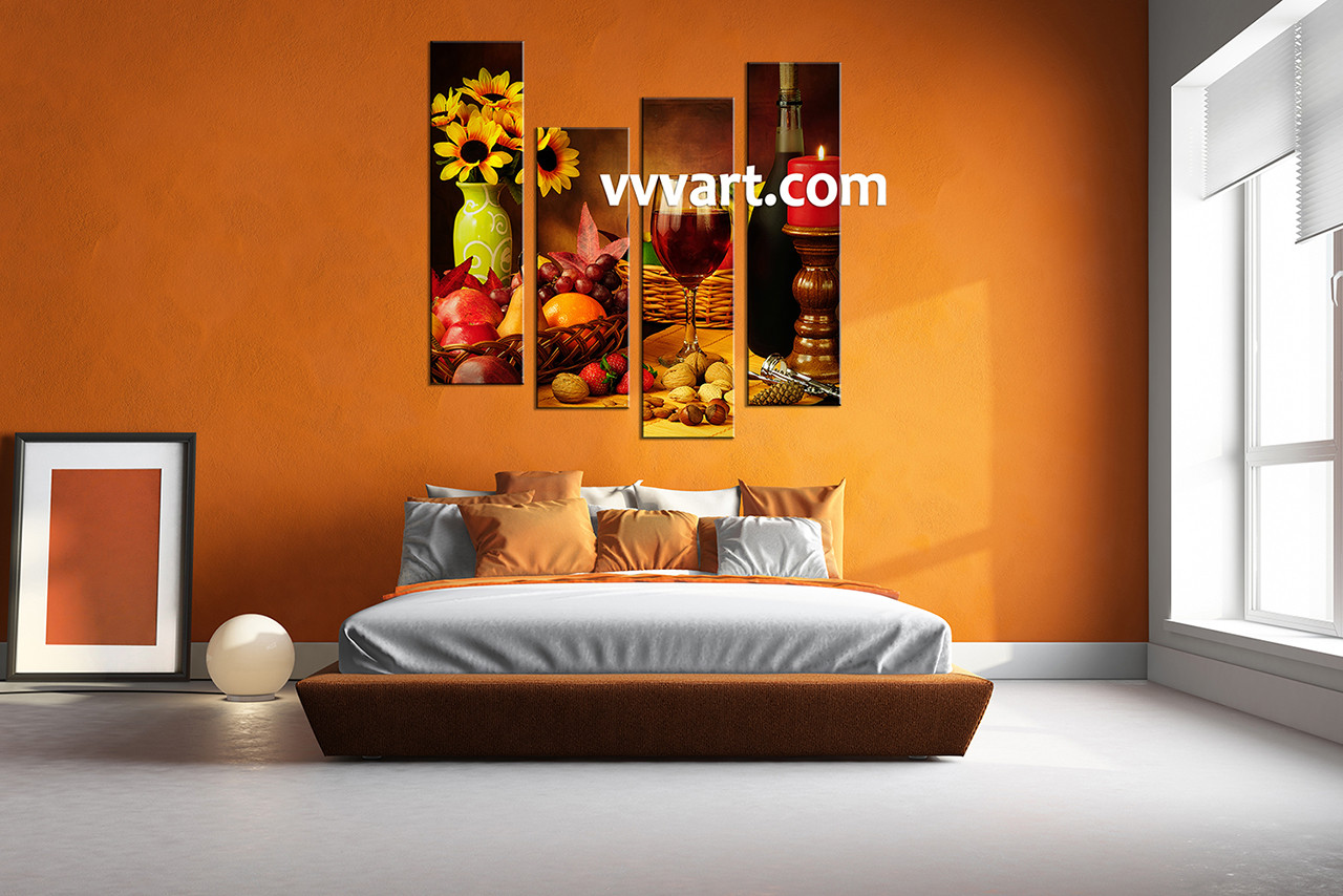 4 piece colorful canvas wine home decor wall art. Black Bedroom Furniture Sets. Home Design Ideas