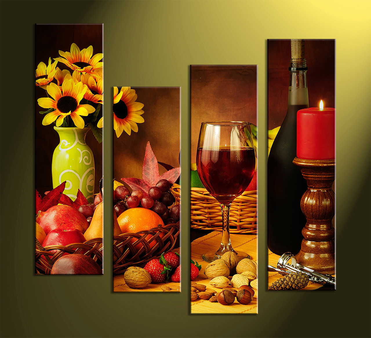 4 piece colorful canvas wine home decor wall art for House decoration pieces