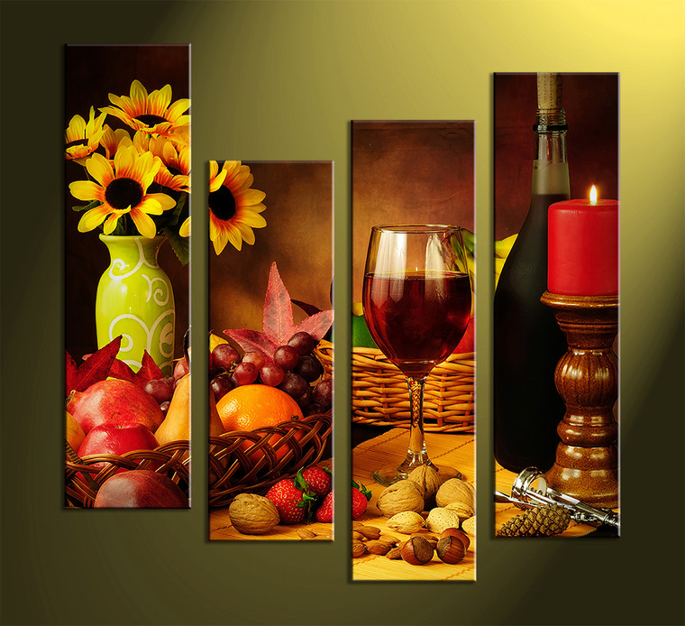 4 piece colorful canvas wine home decor wall art