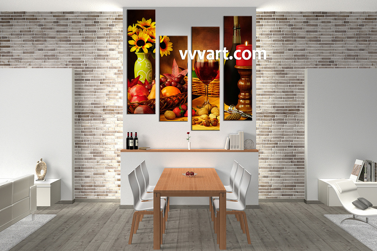 Dining Room Art,4 Piece Canvas Art Prints, Kitchen Canvas Print, Home Decor
