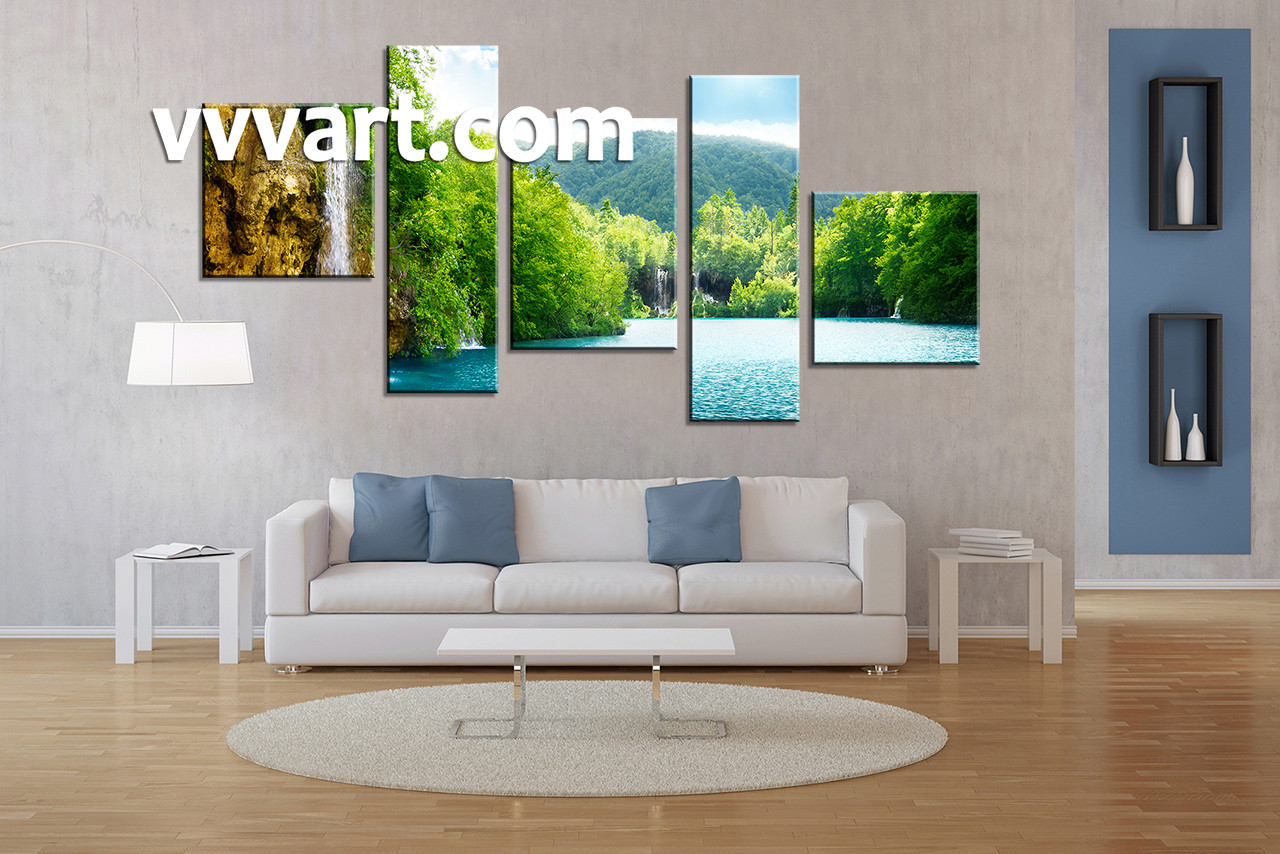 Living Room Wall Decor 5 Piece Art Ocean Multi Panel Scenery