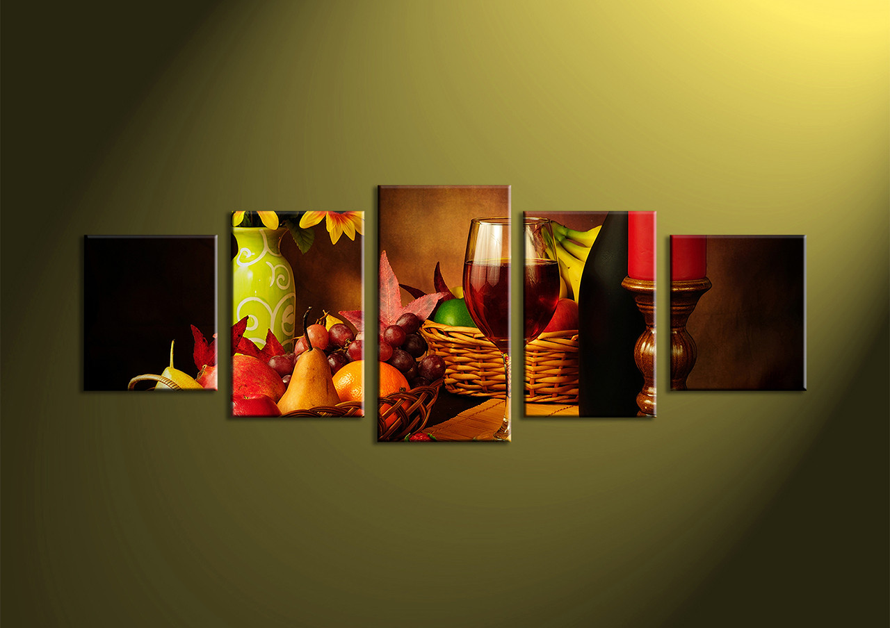 5 piece colorful wine fruits canvas pictures for House decoration pieces