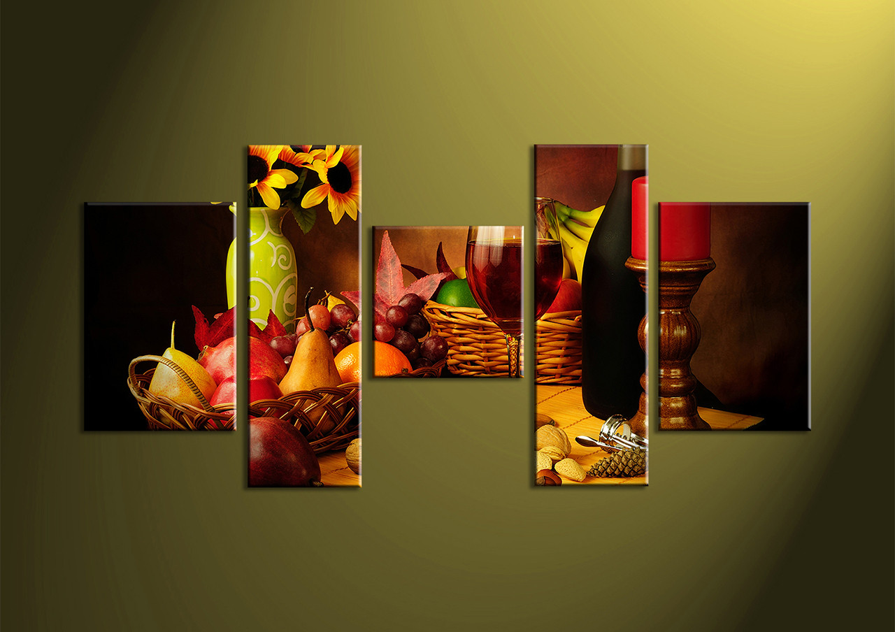 Awesome Home Decor,5 Piece Wall Art, Wine Multi Panel Art, Kitchen Canvas Print