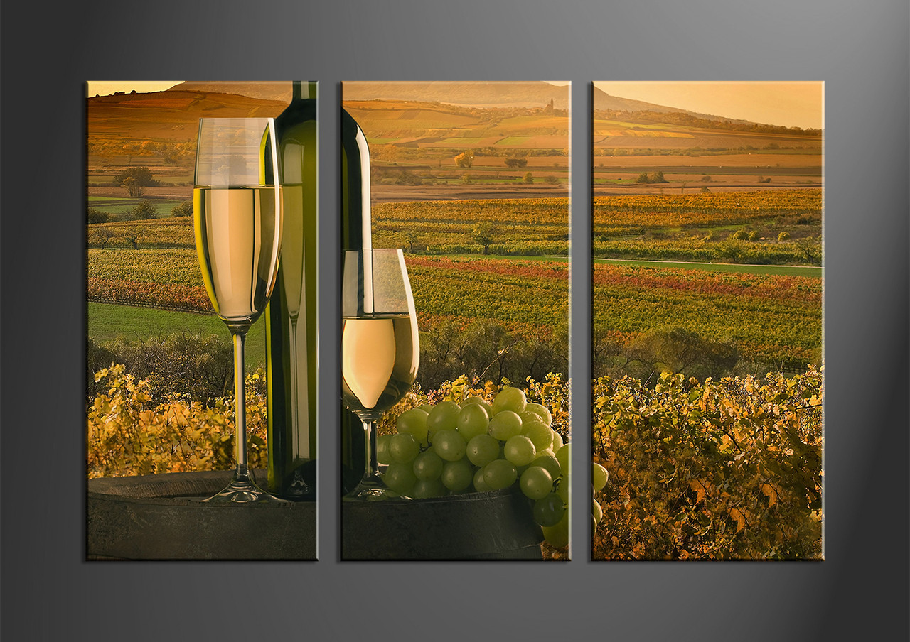 3 Piece Green Canvas Wine Art