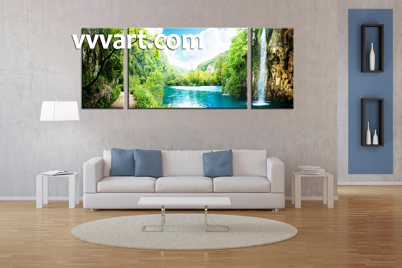 Waterfall Wall Art 3 piece green scenery ocean canvas wall art