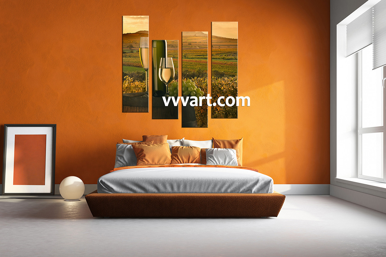 Bedroom Wall Decor 4 Piece Canvas Art Wine Multi Panel Landscape
