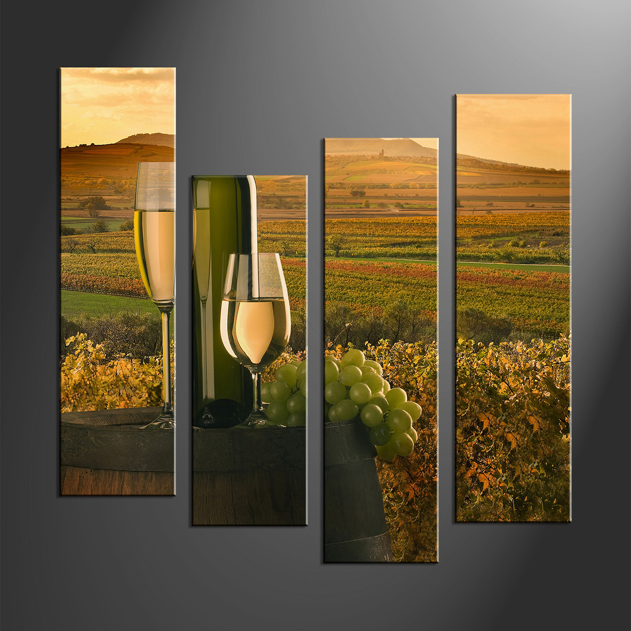 Home Decor, 4 Piece Wall Art, Wine Multi Panel Art, Landscape Canvas Print
