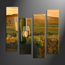 home decor, 4 piece wall art, wine multi panel art, landscape canvas print, wall art