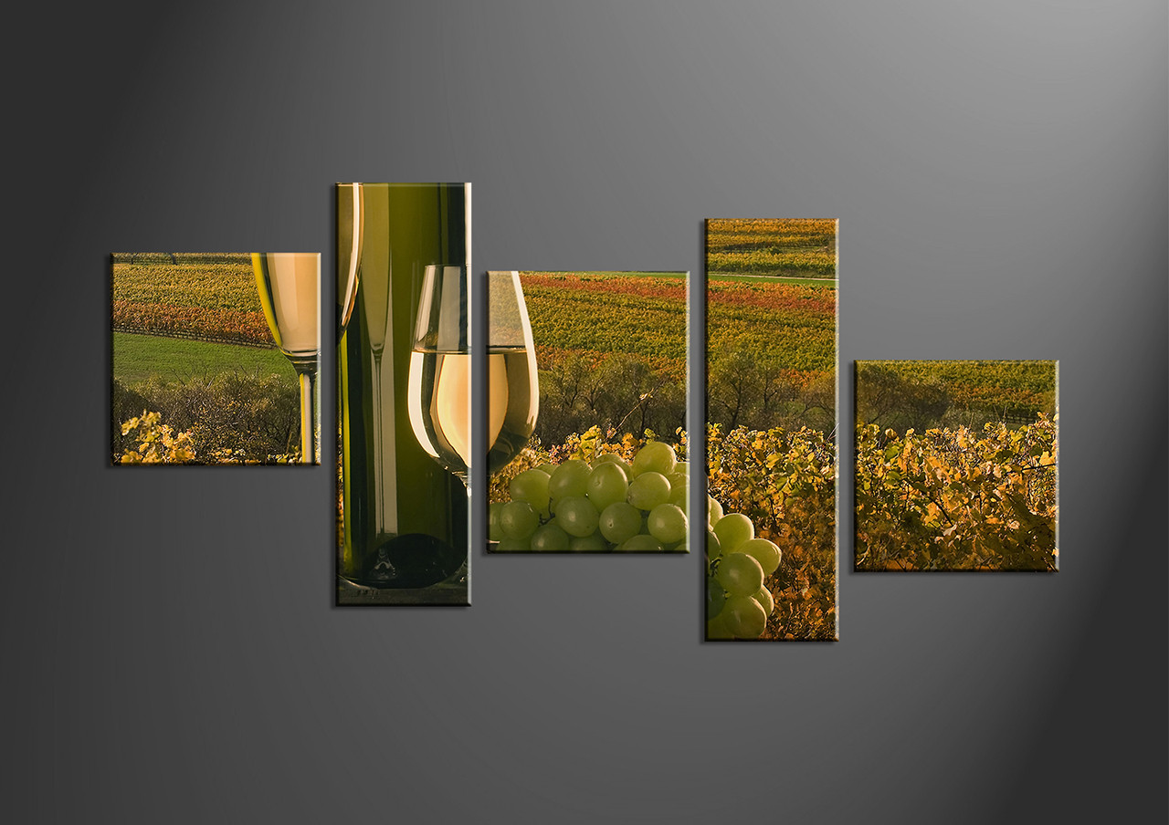 5 piece green canvas fruits wine decor for 5 piece mural