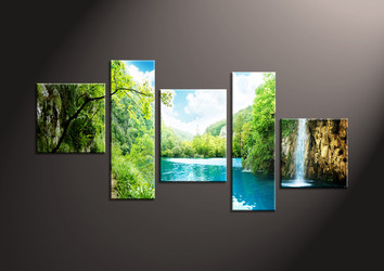 Home Decor,5 piece canvas wall art, ocean multi panel canvas, Scenery canvas prints, waterfall canvas photography