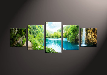 Home Decor Art, 5 piece canvas art prints,ocean canvas print, waterfall group canvas, scenery pictures