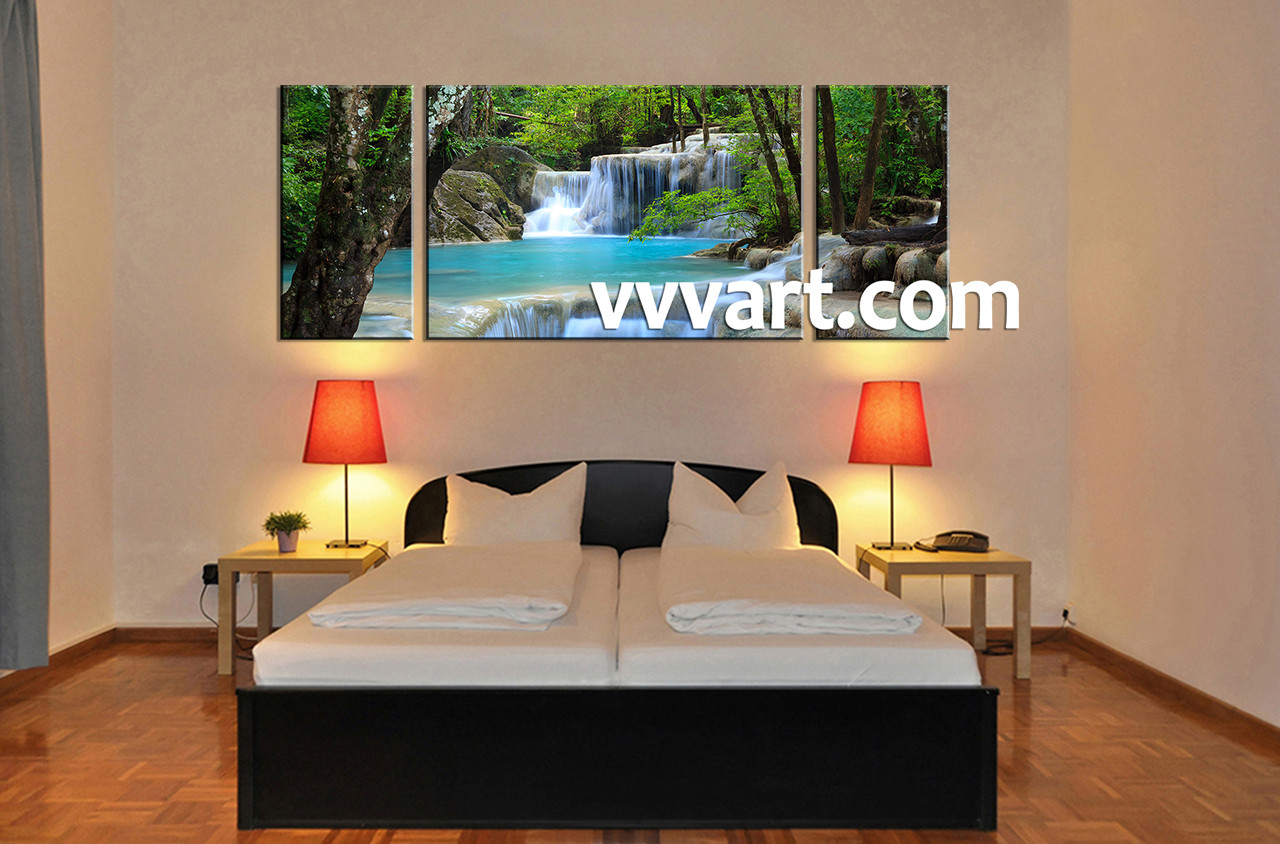 bedroom waterfall. Bedroom Decor3 Piece Canvas Wall Art Ocean Multi Panel Waterfall  amazoncom amars safe voltage bedroom string led curtain lights