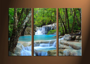 Home Wall Decor,3 piece canvas wall art, Scenery multi panel canvas, ocean canvas prints, waterfall canvas photography